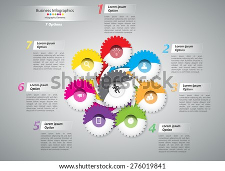Colorful Curved Shape and Gear/Miscellaneous Symbols with Business Icon, Number and Text Information Design. Workflow Layout & 7 Step Process Diagram. Vector Illustration - stock vector
