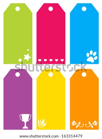 Colorful cut out tags with shape set - stock vector