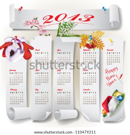 Colorful cute calendar for 2013 with design elements