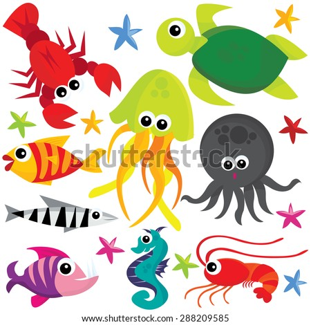 Colorful cute cartoon sea creatures vector illustration. - stock vector