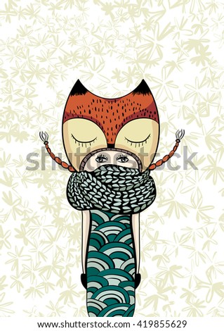 colorful cute girl in foxy coat, knitted scarf, hand drawn doodle, zentangle, zen - stock vector