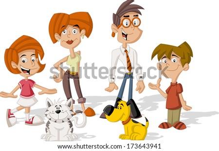 Colorful cute happy cartoon family - stock vector