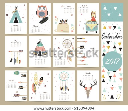 Colorful Cute Monthly Calendar 2017 Tentwhalefeatherarrow ...