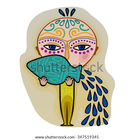 colorful cute original zodiac sign - aquarius - stock vector