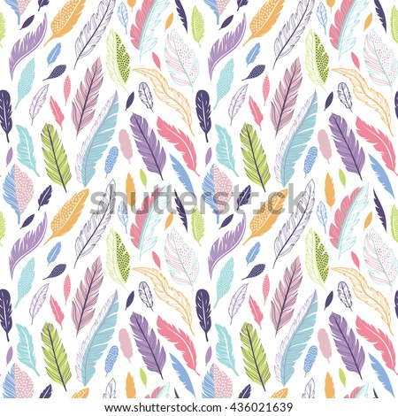 Colorful cute vector seamless pattern with variety of feathers - stock vector