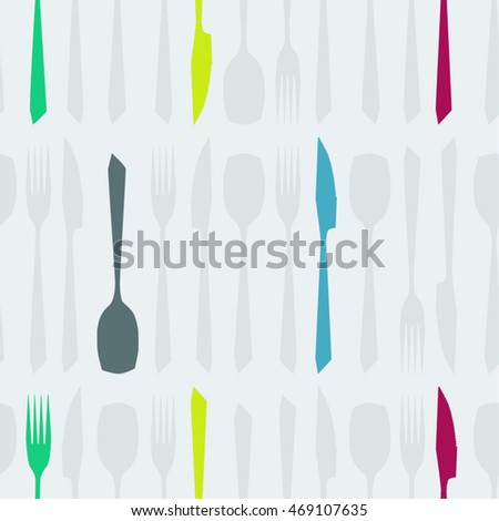 Colorful cutlery seamless vector background