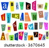 Colorful cutouts from magazines - diverse vector illustration font. Alphabet - letters and digits. - stock vector