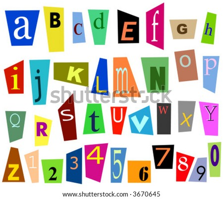 Colorful cutouts magazines diverse vector illustration stock vector colorful cutouts from magazines diverse vector illustration font alphabet letters and digits spiritdancerdesigns Choice Image
