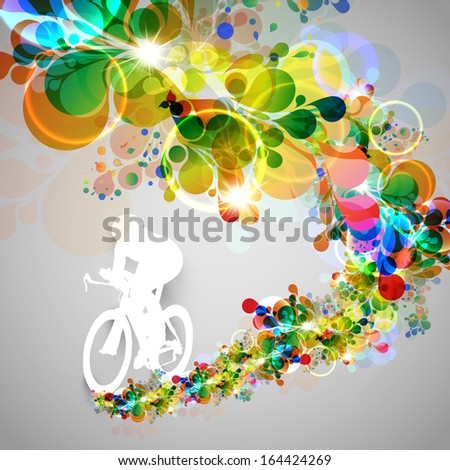 Colorful cyclist vector illustration - stock vector