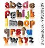 Colorful 3D alphabet font letters symbol icon set EPS 8 vector, grouped for easy editing. - stock photo