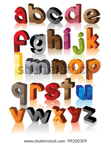 Colorful 3D alphabet font letters symbol icon set EPS 8 vector, grouped for easy editing. - stock vector