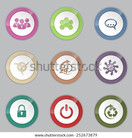 Colorful 3d button set with various symbols - stock vector