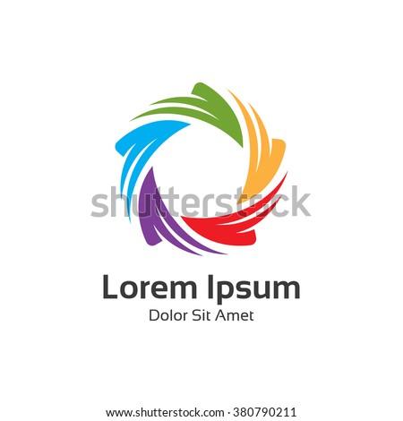 Colorful 3d circle star logo template. Star vector logo design branding corporate identity.  - stock vector