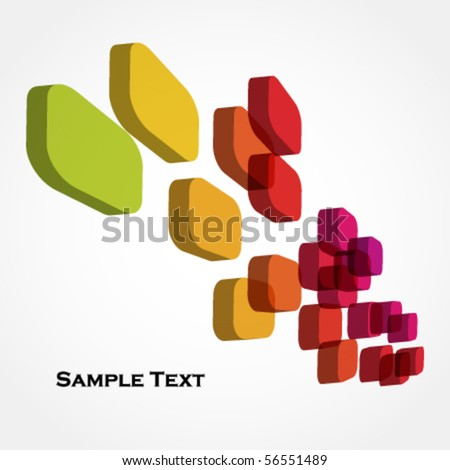 colorful 3d cubes - abstract background - stock vector