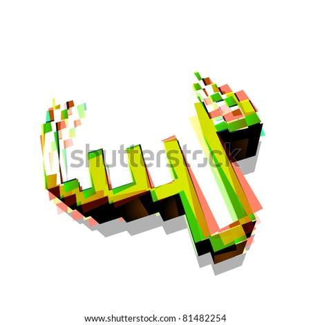 Colorful 3d hand mouse cursor, vector icon - stock vector