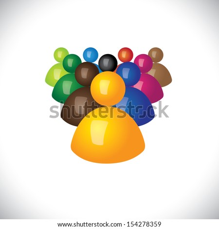 colorful 3d icons or signs of office staff or employees - vector graphic. This illustration also represents community members, leadership & team, winner and losers, political leader & followers - stock vector