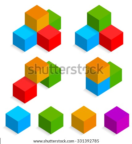 Colorful 3d isometric cubes - stock vector
