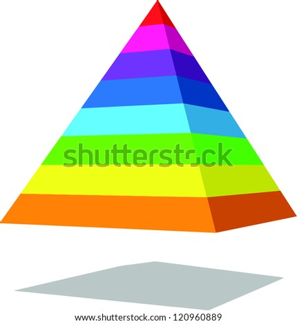 Colorful 3D pyramid vector - stock vector