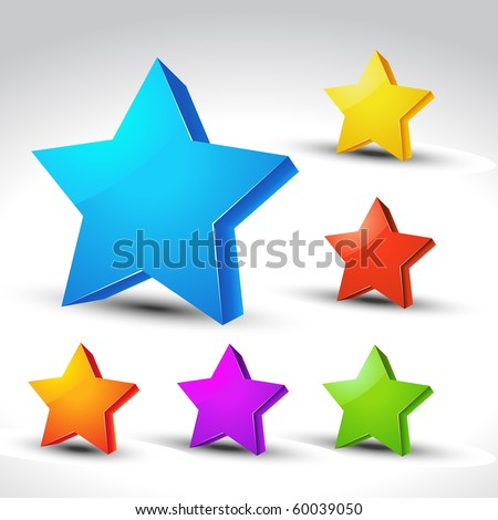 colorful 3d star elements set - stock vector
