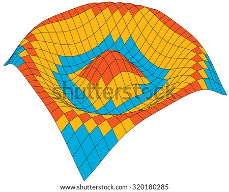 Colorful 3d surface dimentional graph of mathematical function - stock vector