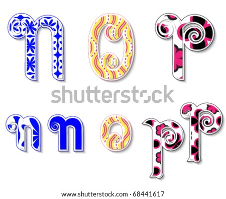 Colorful 3D Swirl NOP Letters with custom patterns (swatches) included. to mix  and match or color to your specific needs. eps 10 - stock vector