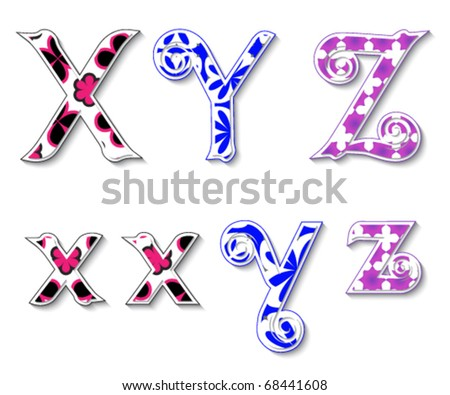 Colorful 3D Swirl XYZ Letters with custom patterns (swatches) included to mix  and match or color to your desired needs. eps 10 - stock vector