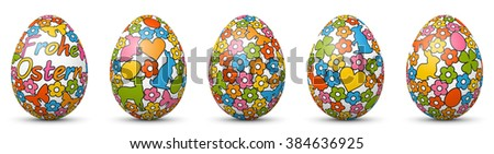 Colorful 3D Vector - Happy Easter - Eggs Banner Set. Cartoon Style Pattern. White Eggs with Fresh Colorful Comic Texture Standing Horizontally in Row. Greeting Card Template Icons - German Language.