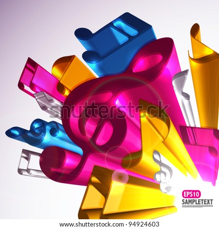 Colorful 3D Vector Melody Signs - stock vector
