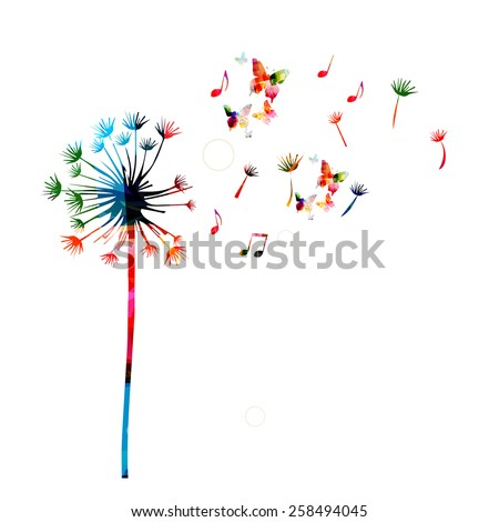 Colorful dandelion background with butterflies - stock vector