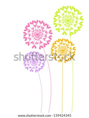 Colorful dandelion flowers. Vector illustration - stock vector