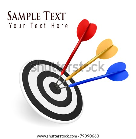 Colorful darts hitting a target. Success concept. Vector illustration - stock vector