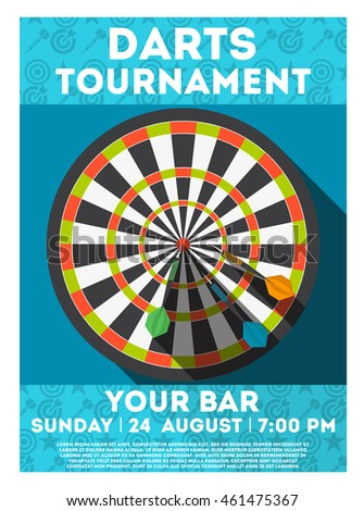 colorful darts tournament poster template design stock