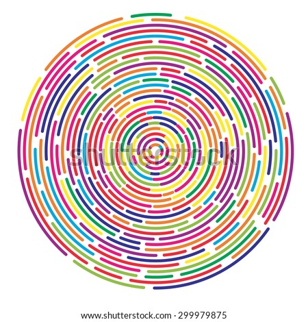 Colorful dashed random concentric circles abstract background - stock vector