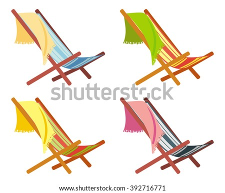 Colorful deckchairs on a white background - stock vector