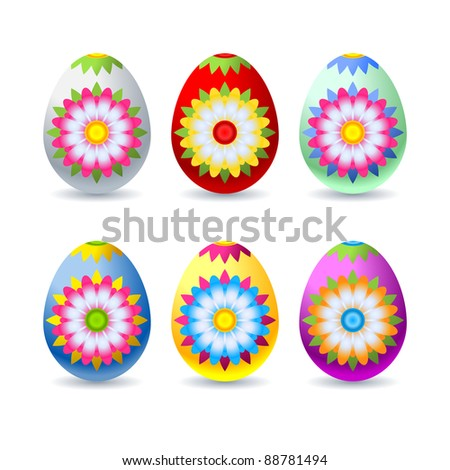Colorful, decorated easter eggs isolated on white background - stock vector