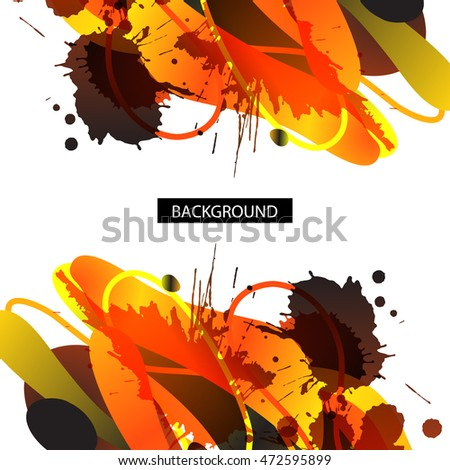 Colorful decorative background with free shapes and blots. For business template or resume. Greeting card
