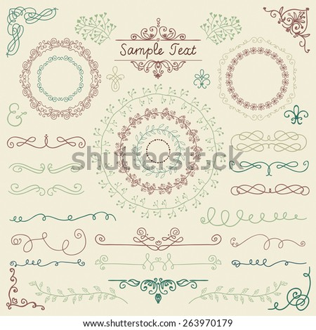 Colorful Decorative Vintage Hand Sketched Doodle Design Elements. Frames, Dividers, Swirls. Vector Illustration - stock vector
