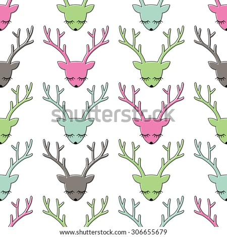 Colorful deer head seamless pattern. Animal head texture. Cute sleeping deer background for winter holidays. Xmas deer Illustration. - stock vector