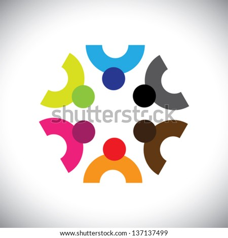 Colorful design of a team of people or children icons. This vector logo template can represent group of kids together or executives in meeting, unity among people, etc. - stock vector