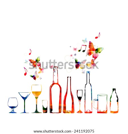 Colorful design with bottles and glasses  - stock vector