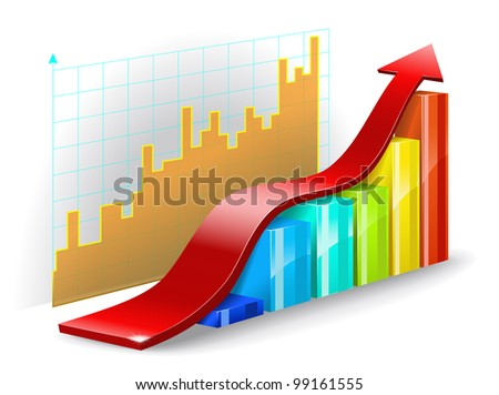 Colorful diagram, graph, and the red arrow on a white background are shown in the picture. - stock vector