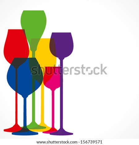 colorful different shape wine glass vector - stock vector