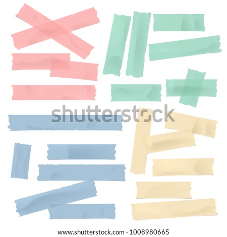 Colorful different size adhesive, sticky, masking, duct tape, paper pieces for text on white background