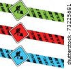 colorful digging warning signs - stock vector