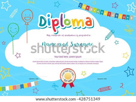 Colorful diploma certificate for kids and children on bright blue background with kids elements  - stock vector