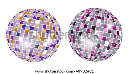 colorful discoball on white background - stock vector