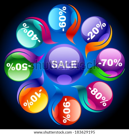 Colorful discount labels 9 - stock vector