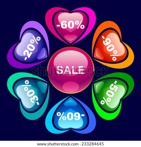 Colorful discount labels 1 - stock vector