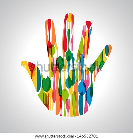 Colorful dishware hand shape. This illustration is layered for easy manipulation and custom coloring