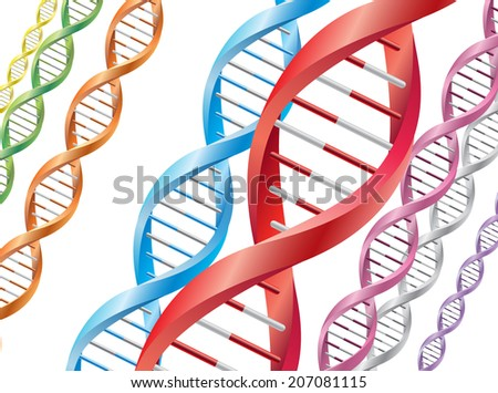 Colorful DNA background - stock vector
